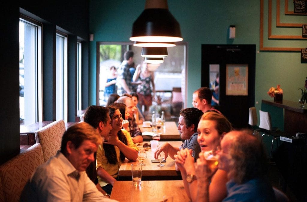 People eating dinner at a restaurant